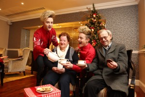 Repro Free: 25th November, 2015 Jedward, CEO of ALONE Sean Moynihan, and older persons supported by ALONE launched the ALONE Christmas Campaign 'share your presence this Christmas ' in the Westin Hotel today. Pictured is Patricia Stanley and Donal Byrne with Jedward. Picture Jason Clarke.