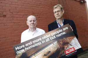 Repro Free: Monday 5th October 2015. ALONE, the charity that provides services for older people in need, have launched their 'homeless in all but name' campaign, highlighting Ireland's mounting crisis around housing our older people.  ALONE call on the government to designate a portion of all social housing units for use by older people. ALONE's Annual Report reveals that over 50% of all calls received by ALONE in 2014 were directly related to homelessness or housing and the number of older people coming to ALONE in need of housing increased by 90% in 2014.Pictured at the launch of the ALONE 'homeless in all but name' campaign were; CEO of ALONE Sean Moynihan and ALONE Resident Brendan. For more information visit www.alone.ie.Picture Jason Clarke